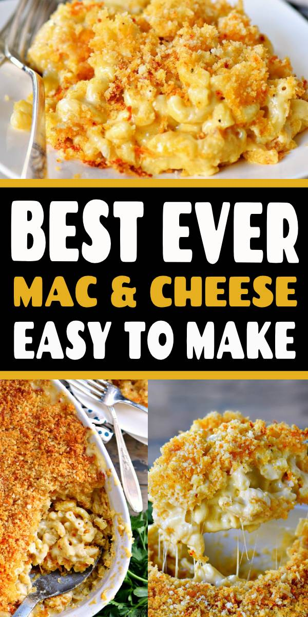 The BEST Homemade Mac and Cheese of your LIFE. Outrageously cheesy, ultra creamy, and topped with a crunchy Panko-Parmesan topping, this mac and cheese recipe is most definitely a keeper. I used three different cheese and a homemade cheese sauce to take this macaroni and cheese recipe over the top. #recipe #dinner #cheesy #macandcheese #macaroni #kidfriendly