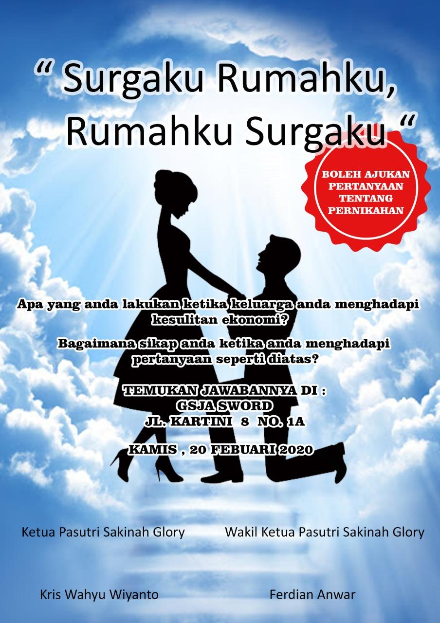 Ibadah pasutri Kamis 20 Februari 2020 Jam 19.00 WIB tempat : GSJA Sword