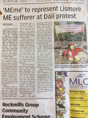 Avondhu Newspaper 11-5-2017, page 19 MEme to represent Lismore ME sufferer in Dail protest