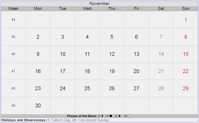 Calendar for November 2020 Sweden