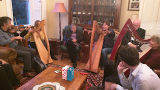 Scottish harp tour group in a jam session