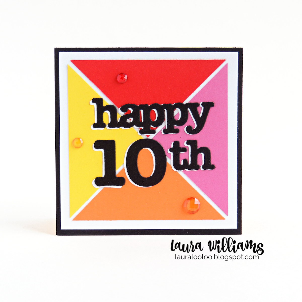 Happy 10th birthday card, or change this number to any age using number and birthday word dies from Impression Obsession. Visit my blog to see more ideas using these fun paper crafting products!