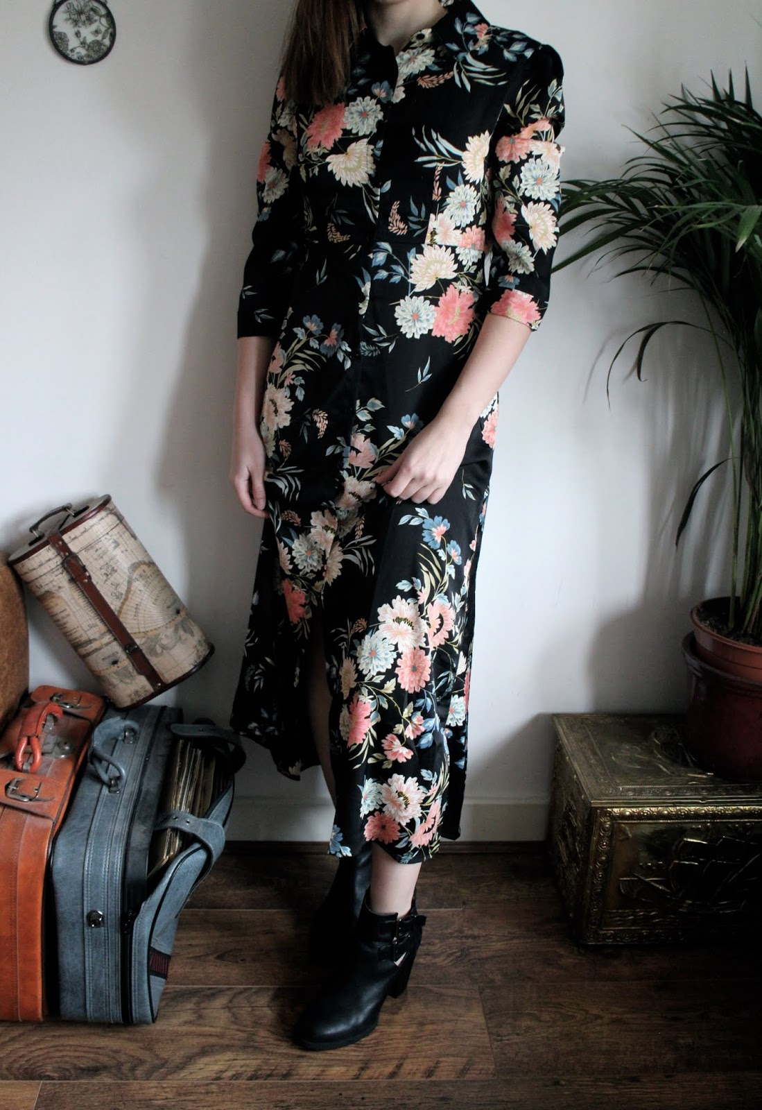 Full length shot of long sleeved maxi dress in floral print