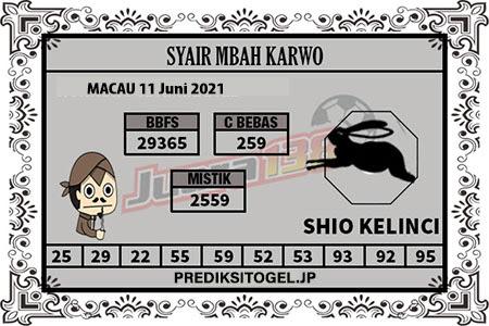 Syair Mbah Karwo Togel Macau Jumat 11 Juni 2021