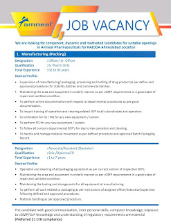 Amneal Pharmaceuticals is Looking for B Sc./ Diploma/ ITI/ B.Pharm Candidates in Ahmedabad Location