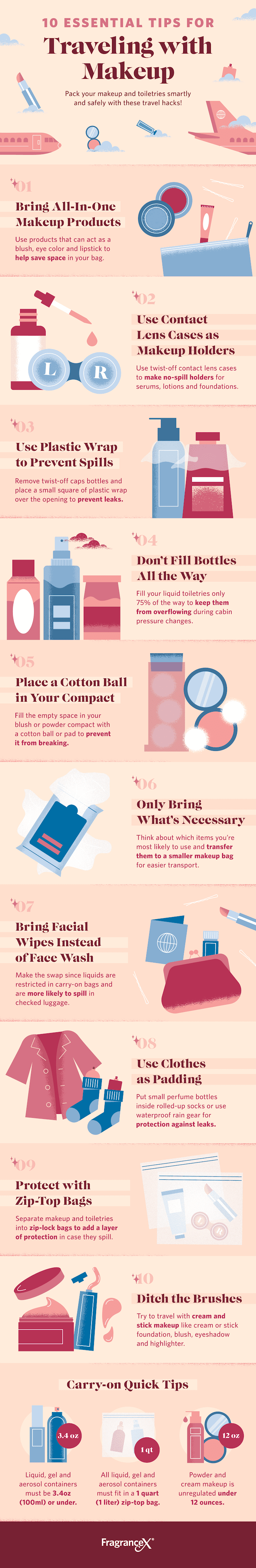10 Essential Tips For Traveling with Makeup #infographic #Travel #infographics #Makeup #Traveling with Makeup #Tips
