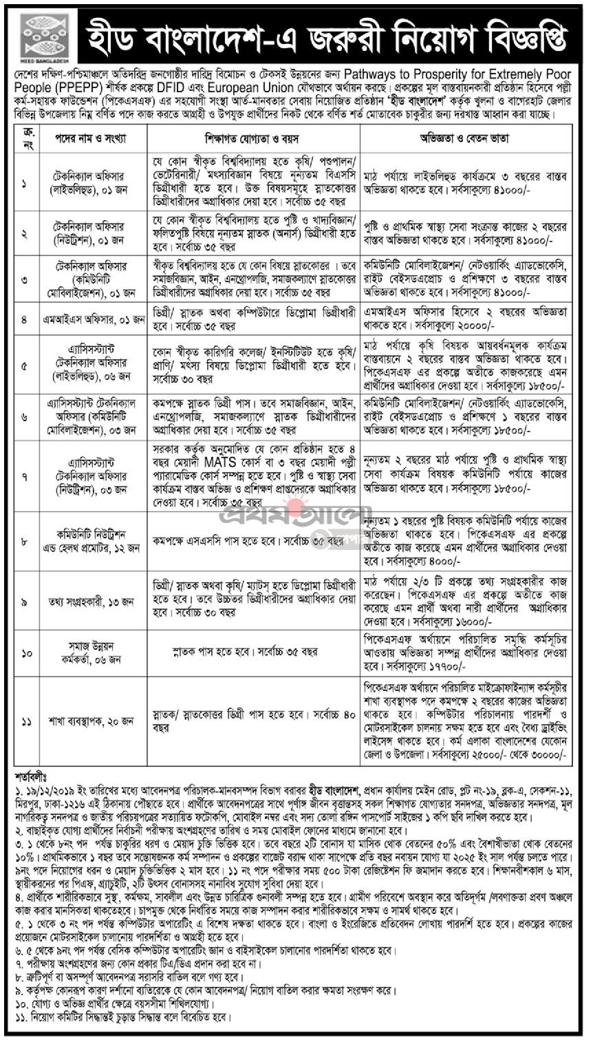 heed bangladesh Job Circular 2019