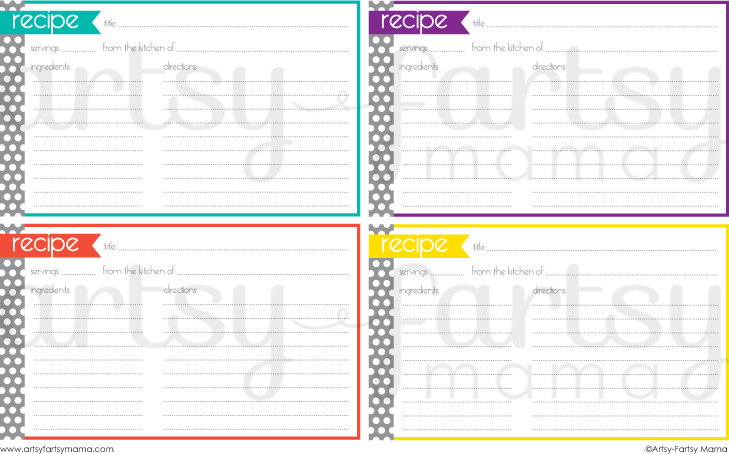 Free Printable Recipe Cards at artsyfartsymama.com