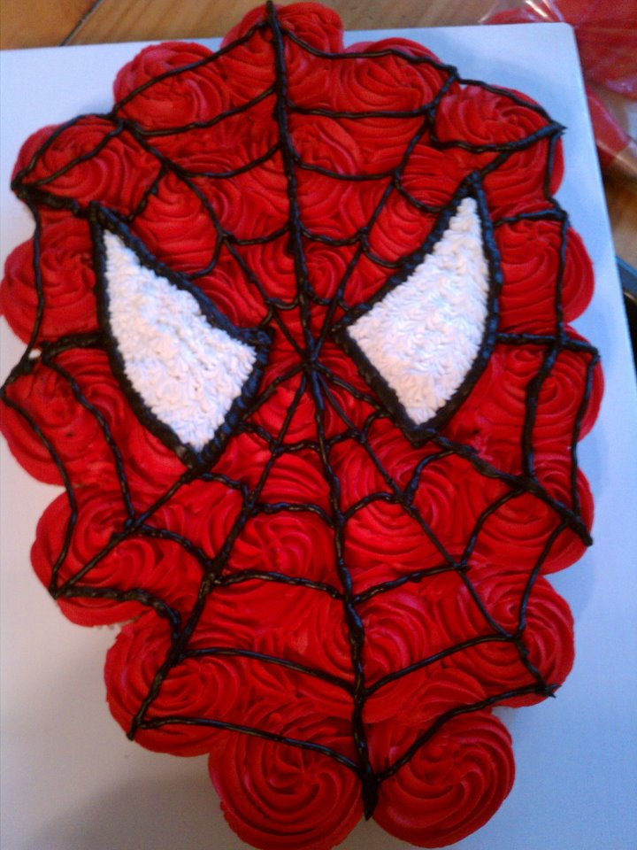 Introducing spiderman cupcake cake my first try for Spiderman template for cake