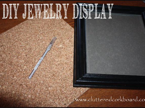 DIY Jewelry Display using a frame