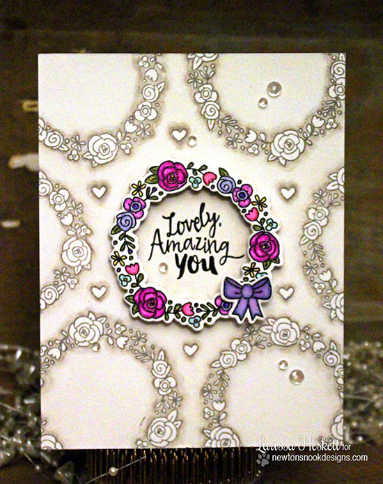 Lovely, Amazing You wreath card by Larissa Heskett | Happy Little Thoughts Stamp set by Newton's Nook Designs #newtonsnook
