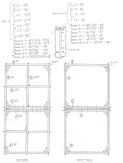 A detailed sketch diagram for a 4 x 8 benchwork table including measurements