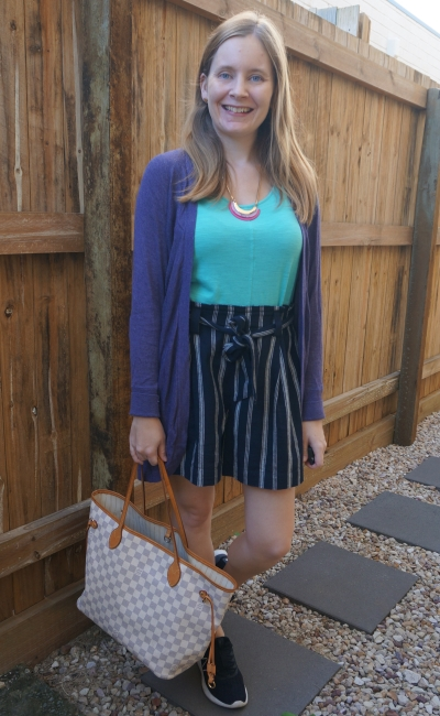 purple cardigan, turquoise tank, navy stripe culottes and damier azur MM Louis Vuitton neverfull | away from the blue
