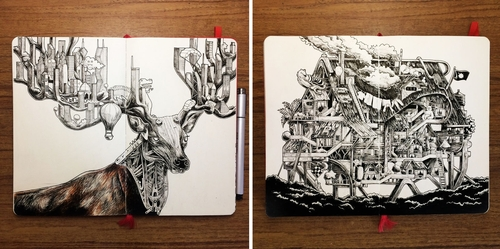 00-Wan-Izat-Architecture-meets-Surrealism-and-Animals-in-Sketch-drawings-www-designstack-co