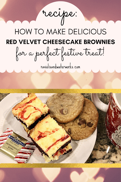 recipe for festive dessert red velvet cheesecake brownie