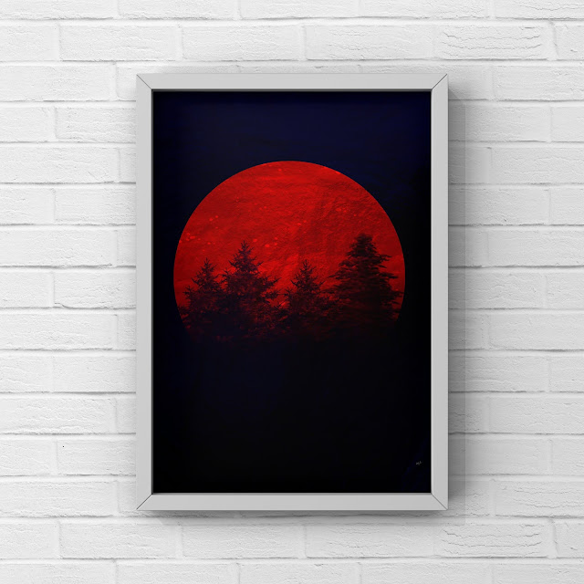 blood moon, red moon, artwork, art print, forest,