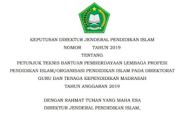 Juknis Bantuan Lembaga Profesi Pendidikan Islam/Organisasi Pendidikan Islam Pada Madrasah 2019