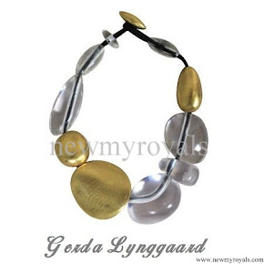 Queen Maxima Style Gerta Lynggaard Lucite and Gold Lacquered Wood Necklace
