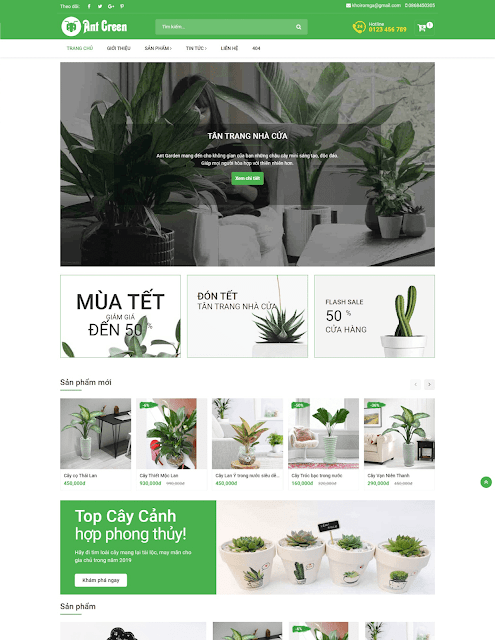 Template blogspot bán hàng Ant Green Shop