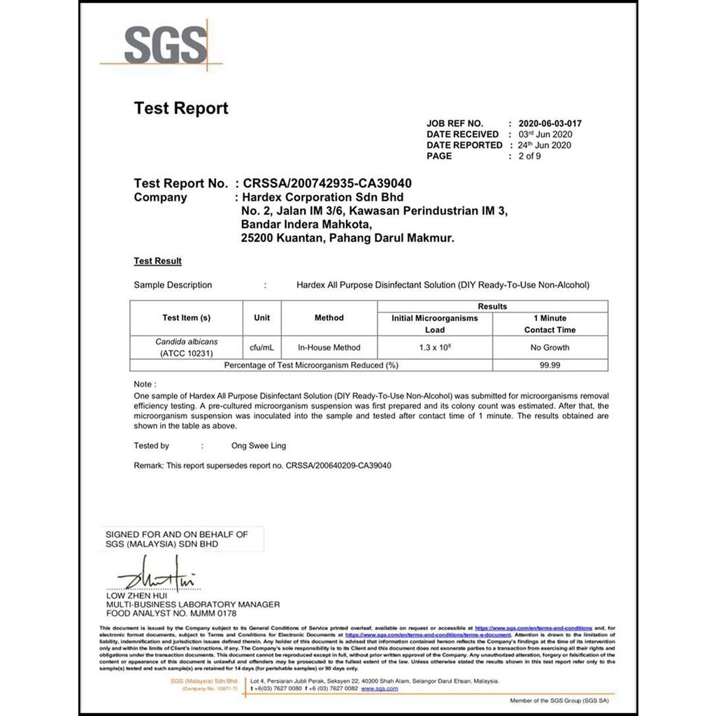 hardex sirim sgs certified sanitizer disinfectant solution