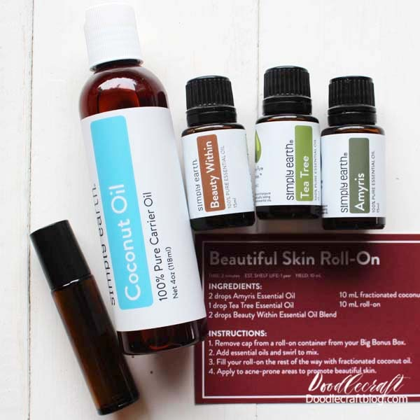 I started by making the Beautiful Skin Roll-On. The recipe cards are perfect for compiling for later mixing. I love knowing how to use the oils I'm given too! This skin roll-on smells wonderfully and helps me feel not so dried out.