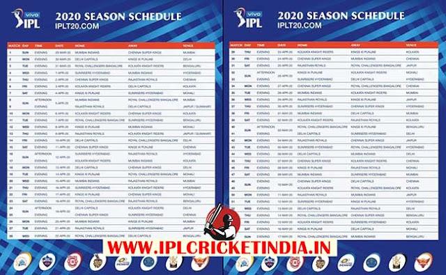 Vivo IPL Schedule 2020