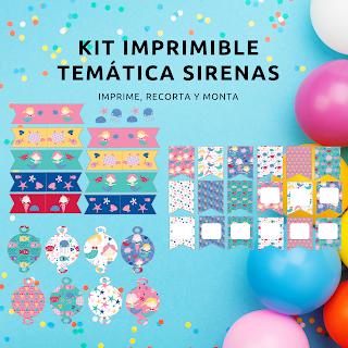Kit, imprimible, fiesta, cumpleaños, sirenas, decoración, eventos