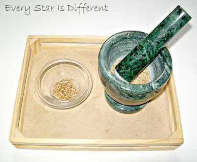Montessori-inspired Africa Unit: Mortar and Pestle with Coriander