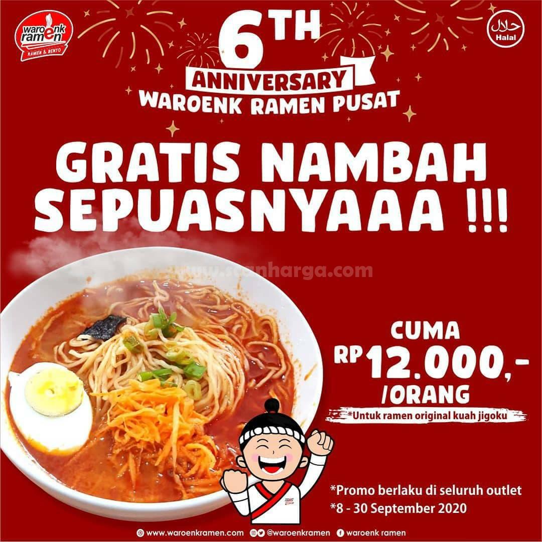 Promo Waroenk Ramen 6th Anniversary Gratis Nambah Sepuasnya Hanya Rp 12.000 /Orang
