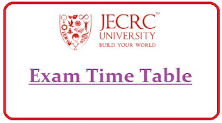 JECRC University Exam Date Sheet 2020