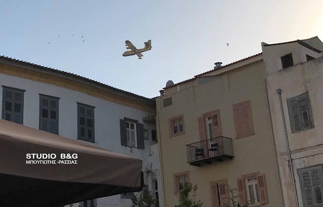 Μάχη με τις φλόγες στη Νεμέα - Αεροσκάφη γεμίζουν στον Αργολικό Κόλπο