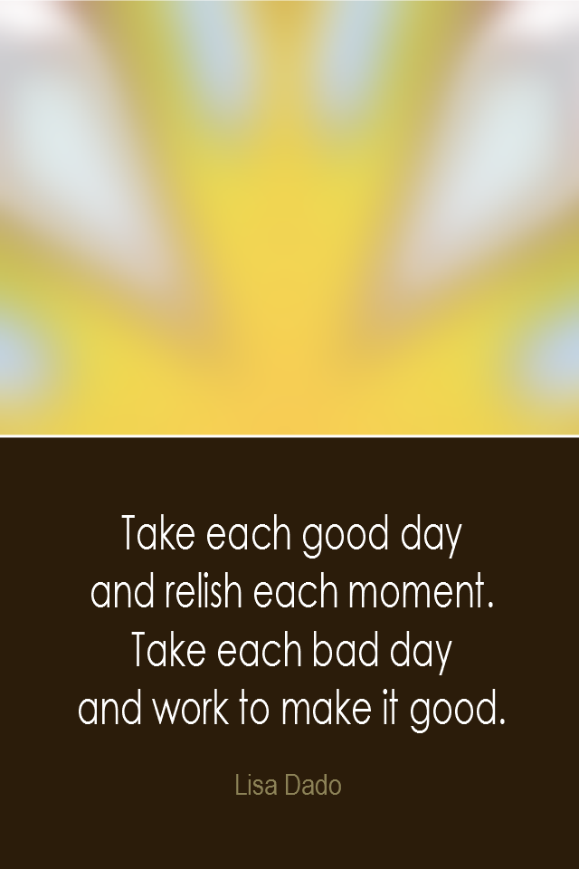 visual quote - image quotation: Take each good day and relish each moment. Take each bad day and work to make it good. - Lisa Dado