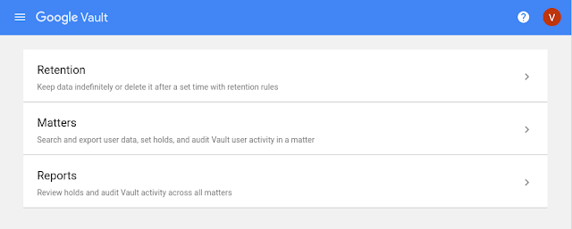 New interface for Google Vault 2