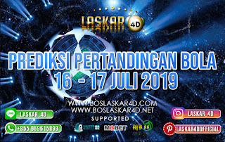 PREDIKSI PERTANDINGAN BOLA TANGGAL 16 – 17 JULI 2019