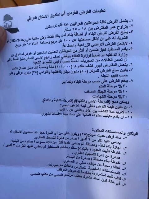 تعليمات  قروض صندوق الاسكان العراقي (لسنة ٢٠٢٠)