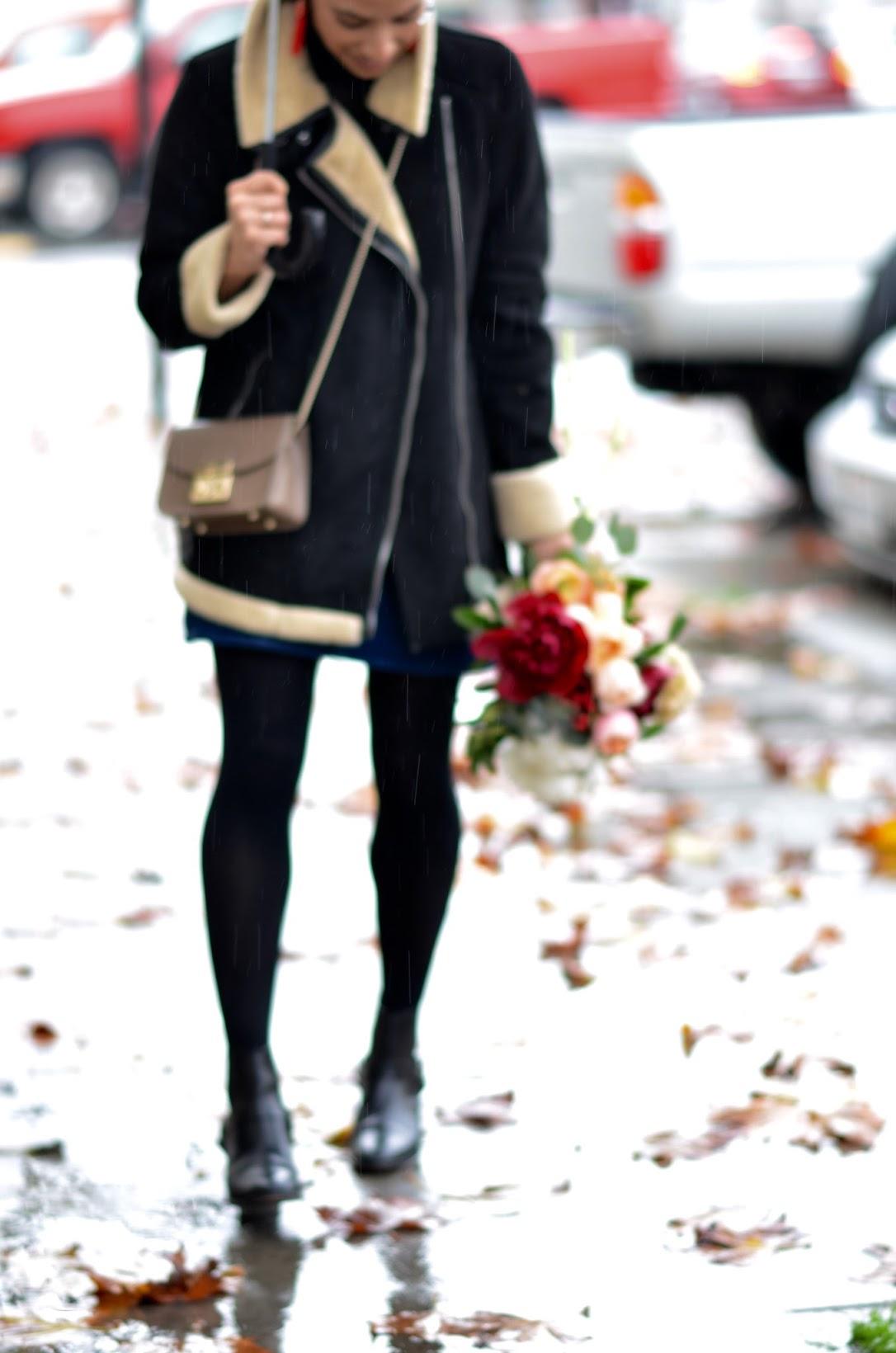 rainy day style, zara winter 2016, winter florals, peonies, winter peonies, Furla crossbody, BaubleBar piñata earrings, clear bubble umbrella