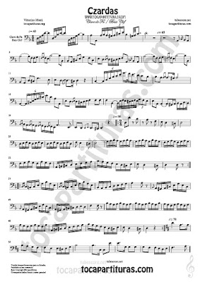 Czardas Sheet Music on Bass Clef for Trombone, Cello Bassoon Euphonium... Classical Music Score