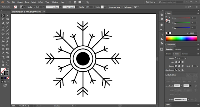 Snowflakes in Adobe Illustrator