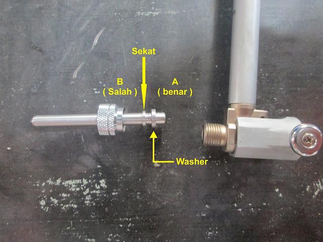 memasang washer pada cylinder bourgauge