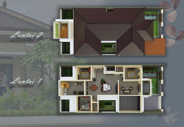 The NusaPenida House, hunian tropis natural 1 lantai di lahan 11x34 m