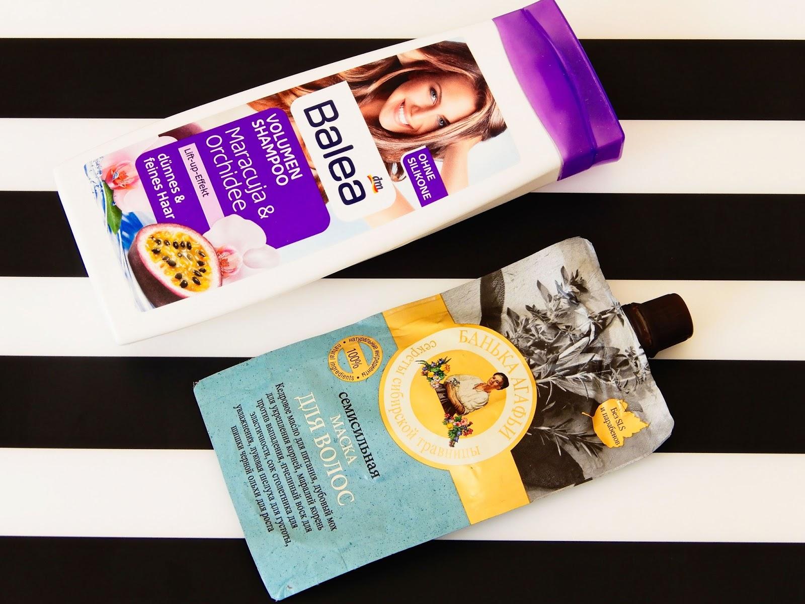 Balea Volumen Shampoo Maracuja & Orchidee, Maska do włosów Siedmiu Sił Maska nawilżająca i odżywiająca skórę głowy i włosy Bania Agafii, Babuszka Agafia,