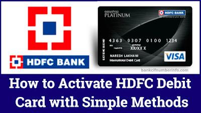 Activate HDFC Debit card