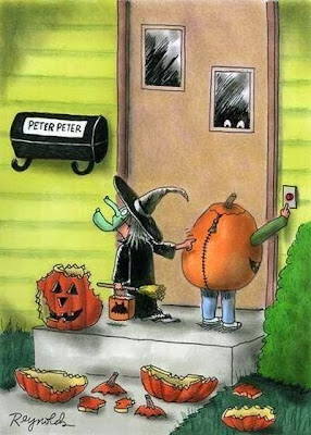 Hilarious Halloween Holiday Cartoon Image - Witch and Pumpkin at Peter Peter Pumpkin Eater's door