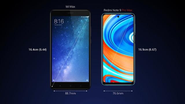 Redmi Note 9 Pro Max vs. Mi Max (screen size)