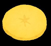 じゃがいもの切り方のイラスト(黄色・薄切り)