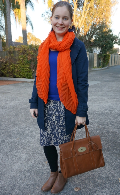 colorful winter office wear lace pencil skirt with bright orange scarf | away from blue