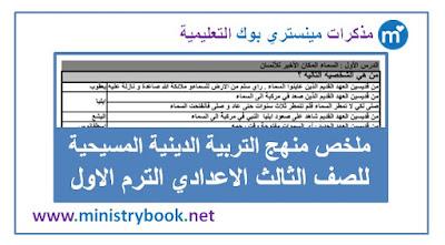 ملخص التربية الدينية المسيحية للصف الثالث الاعدادي الترم الاول 2019-2020-2021