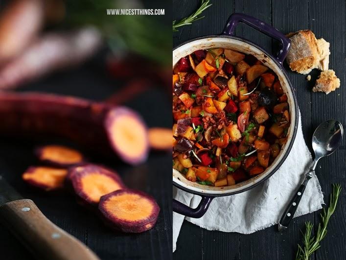 Eintopf im Brot herbstlicher Eintopf Gemüse Chorizo Speck bunte Karotten