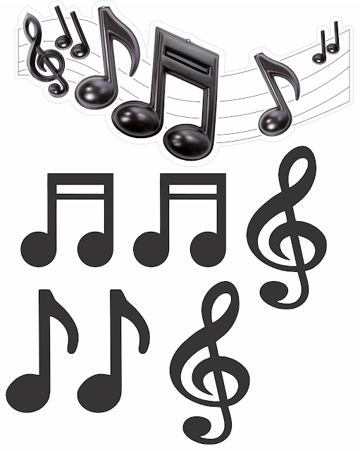 Free Printable Music in Whte and Black Sweet 16 Cake Toppers.