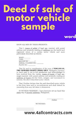 Deed of sale sample word